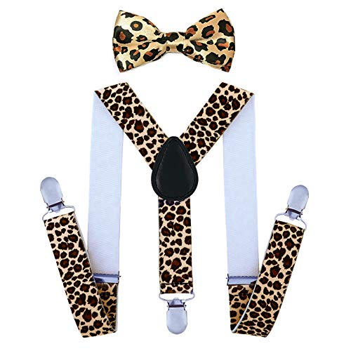 Child Kids Suspenders Bowtie Set - Adjustable Suspender Set for Boys and Girls (25Inches (5 Months to 6 Years),Leopard Pattern)