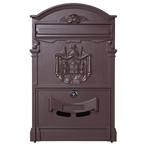 Outdoor Wall Mounted Retro Iron Mailbox Letter Box with Lock (copper) (Copper Mailbox Small)