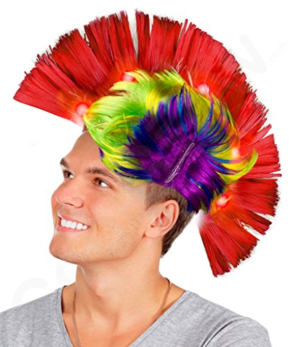 Fun Central AD156, 1 Pc Multicolor LED Light Up Mohawk Wig, Light Up Mohawk Hat, Hat Costume for Men, Costume Wigs, Light Up Wig, Light Up Hats, Glow in The Dark Mohawk, Boy Wigs, Rainbow Costume -
