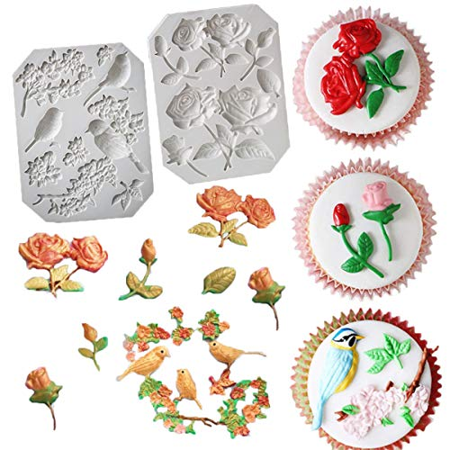 - UOFEIVS The Easiest Rose Stems Bird Blossoms Fondant mold Cake Decorating Tools Gumpaste Flowers mold Non stick Chocolate Candy Clay pottery Moulds sugarcraft baking tool