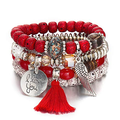 Unew Turquoise Stackable Bracelets for Women - Vintage Multi Layer Colorful Beads Bracelets Bohemian Anklets Tassel Crystal Charm Birthstone Yoga Chain Stretch Beach Bangle (Red Stackable Bracelet)