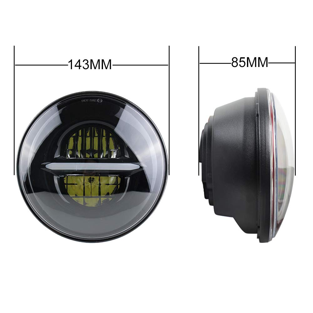 Black 7 Round LED Projection Headlight Compatible for Car Sportster Motorcycle Headlamp Black 1 pcs