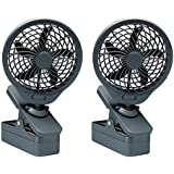 O2 Cool 5 Inch Battery Operated 5 Portable Clip Fan (2 pack)  Grey
