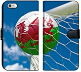 Luxlady iPhone 6 Plus / 6s Plus Flip Fabric Wallet Case Image ID: 34532434 Wales Flag and Football in Goal net