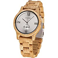 Wooden Watches, Lightweight Wood Watch Mens Analog Quartz Dress Watch for Men with Gift Box, Brassy