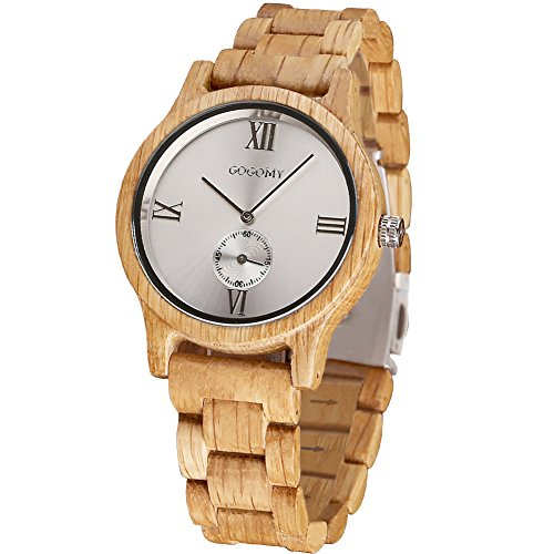 Wood Watches for Men - GOGOMY Handmade Wooden Strap Wrist Watch for Mens Birthday Gifts/Anniversary Gifts - Lightweight Casual Wooden Watches Gift for Men