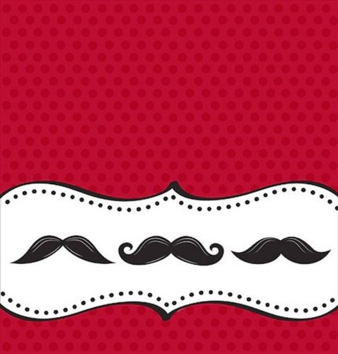Creative Converting Mustache Madness Plastic Banquet Table Cover, Fits Upto 8' Length ()