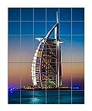 Burj Al Arab Is Luxury Stars Hotel Vertical Tile Mural Satin Finish 42''Hx36''W 6 Inch Tile