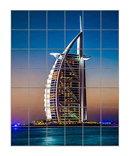 Burj Al Arab Is Luxury Stars Hotel Vertical Tile Mural Satin Finish 42''Hx36''W 6 Inch Tile by Style in Print (Image #2)