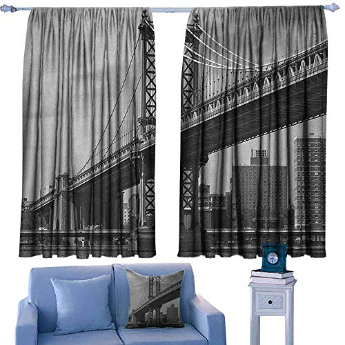 (Mannwarehouse New York Polyester Curtain Bridge of NYC Vintage East Hudson River Image USA Travel Top Place City Photo Art Print Privacy Protection 63