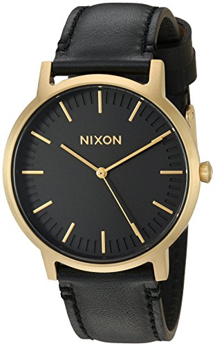 (NIXON Porter Leather A1058 - Gold/Black - 50m Water Resistant Men's Analog Classic Watch (40mm Watch Face, 20-18mm Leather Band))