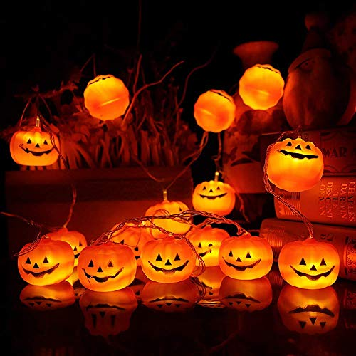 Mibor Halloween Pumpkin Lights Lanterns, 10 LED Pumpkin Lights 3D Jack o Lantern Halloween Pumpkin Lights Decor Indoor Outdoor Party Ideas, Orange]()