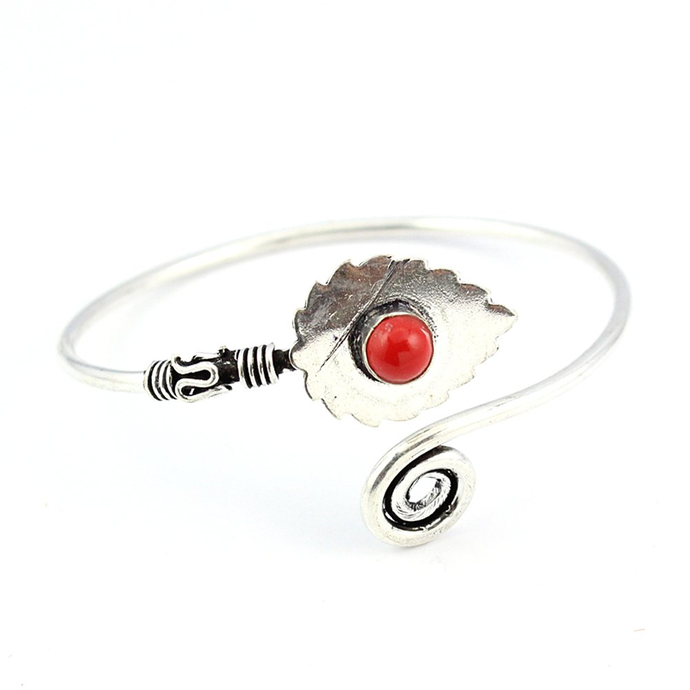 HIGH FINISH CORAL FASHION JEWELRY SILVER PLATED BANGLE S19413 Adjustable
