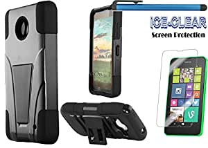 NOKIA LUMIA 635 Accessories 3-items Bundle-VGUARD Dual- Layer Hard/Gel Hybrid Kickstand Armor Case (Black/Black)+ICE-CLEAR(TM) Screen Protector Shield(Ultra Clear)+Touch Screen Stylus