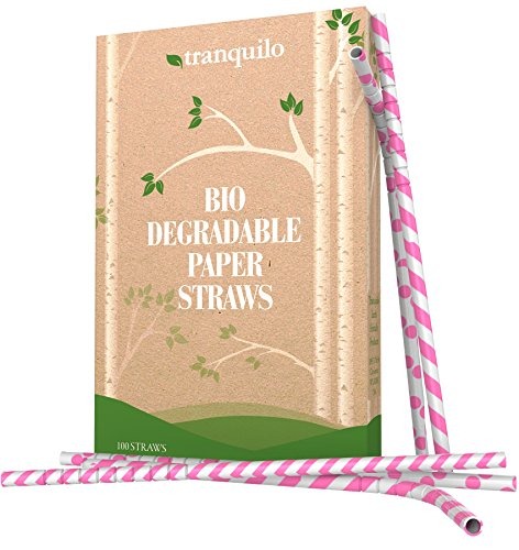 Tranquilo Biodegradable Paper Straws - Pink (Box of 100)