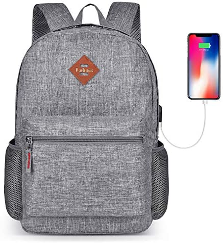 CoolBELL Backpack Casual Daypack Student Book Bag Water-Resistant Travel Backpack Multipurpose 15.6 Inches Laptop Backpack for Men/Women (New Grey)