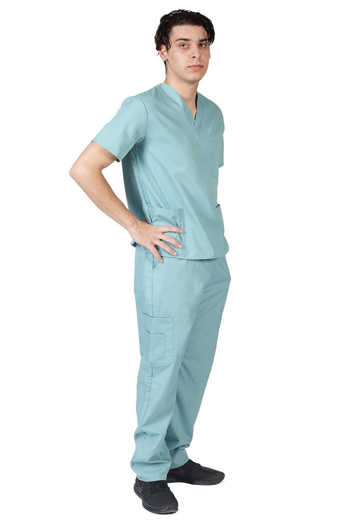 M&M SCRUBS Men Scrub Set Medical Scrub Top and Pants M Misty Green