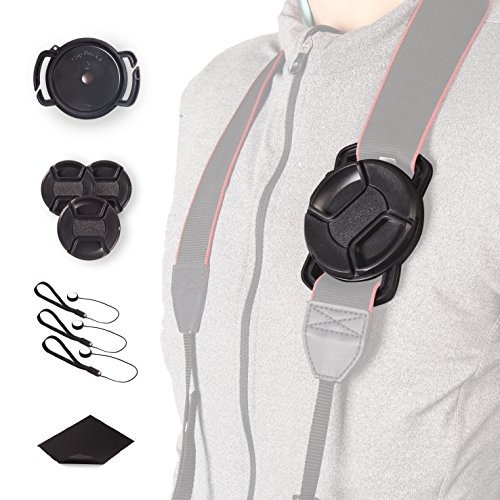 Camera Lens Cap Buckle Anti-Lost Holder Keeper and Camera Lens, Camera anti-loss len leash included (72mm-77mm)