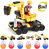 Building Blocks for Kids, Easter Eggs Filled with Toy Construction Vehicles Brick Toys Car Set for Kids Dump Truck, Excavator, Forklift, Bulldozer, Drilling Vehicle Surprise Easter Gift for Boy, Girl