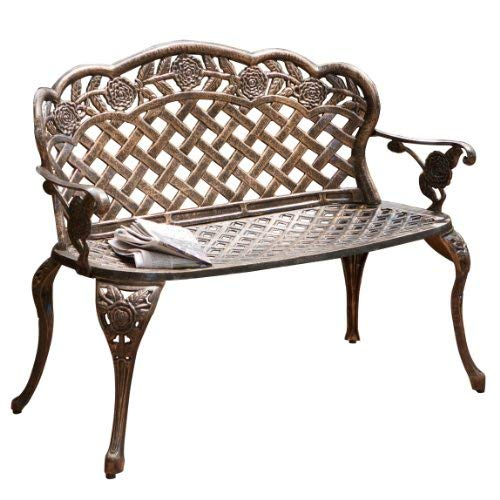 Great Deal Furniture Santa Fe Cast Aluminum Garden Bench
