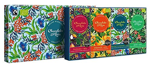 Chocolate and Love Filled Gift Box - Sea Salt / Panama / Orange / Mint 4 x 80g - 80 Equal Exchange