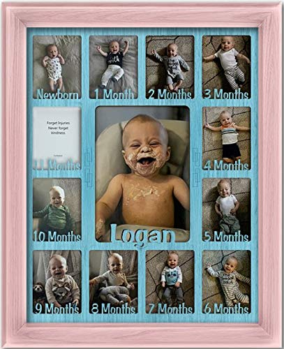 Northland Baby First Year Personalized Frame - Holds Twelve 2.5'' x 3.5'' Newborn Photos and 5'' x 7'' One Year Picture, Navy Frame, Aqua Insert, Customizable with Any Name by Northland Frames