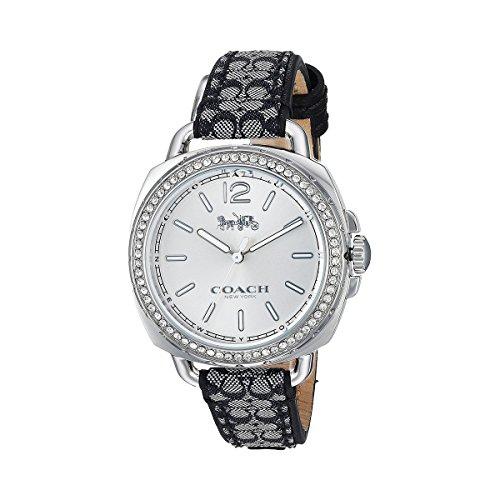 Coach Women's 14502769 Tatum Signature Fabric Leather Silver Tone Glitz Watch (Womens Coach Watches Silver)