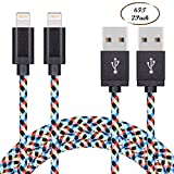 Everdigi iPhone Charger 2Pack 6FT Lightning to USB Cable 8Pin Nylon Braided Sync & Charging USB Cable Cord Charger Compatible with iPhone 7/7 Plus/6s/6s Plus/6/6 Plus/5s/5c/5/SE, iPad/ iPod & More