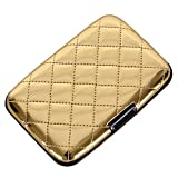 quilted small wallet - Aluminum Quilted PU Leather RFID Blocking Wallet Slim Hard Metal Credit Card Holder for Women (Gold)