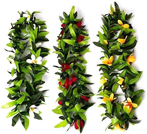 Tiamu Luau Leis 3 Piezas Flores Artificiales Collares de Hojas de ...