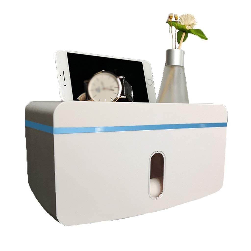 Lamp love Bathroom Tissue Box Wall-Mounted Plastic Toilet Paper Holder Multi-Function Waterproof Storage Box Large Capacity Dispenser (Color : Blue)