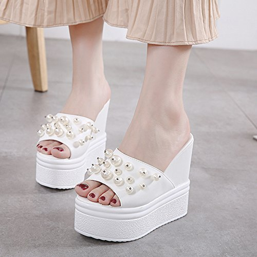 KPHY Sandals Thick Shoes Drag Thick Soled Fish All Korean Nail Match White Lady Bead Sponge 13Cm Mouth Soles Are A Female Sandals PwaPqRr