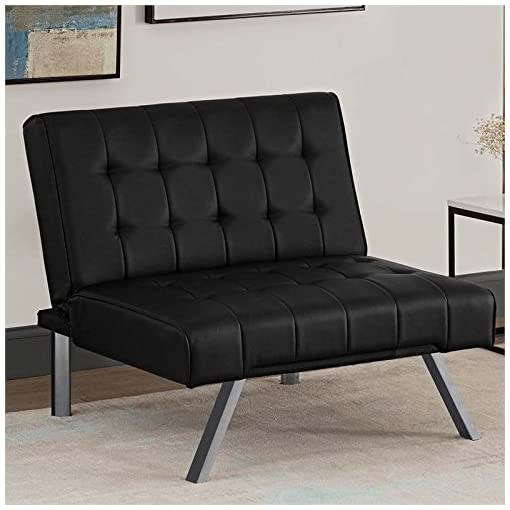 DHP Emily Futon Sofa Bed, Modern Convertible Couch With Chrome Legs ...