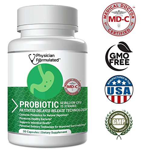 Physician Formulated Probiotics for Women & Men - 50 Billion 15 Strains Slow Release DR Capsules & Prebiotics to Improve Digestive Health, Immune Support Supplement Full Month Supply