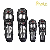 Pivalo Alloy Steel Knee Pads Flexible Breathable Adjustable Elbow Armor Protector, Standard (Black)