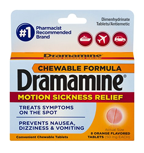Dramamine Motion Sickness Relief Chewable Tablets, Orange Flavored, 8 (Orange Flavored Chewable)