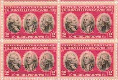 Yorktown 1781-1931 Set of 4 x 2 Cent US Postage Stamps NEW Scot 703