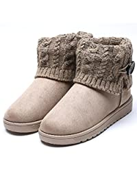 2016 Women's Flock Plain Ankle Boots Fully Fur Lined Waterproof Winter Snow Boots