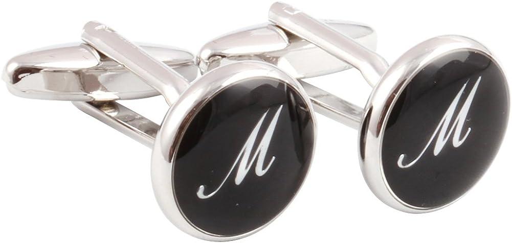 H&H HJ Men's 2PCS Rhodium Plated Cufflinks Silver Initial Letter Shirt Wedding Business 1 Pair Set 4 Color A-Z