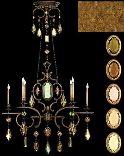 - Fine Art Lamps 726040-1, Encased Gems Crystal Chandelier Light, 6 Light, 120 Watts, Gold Leaf