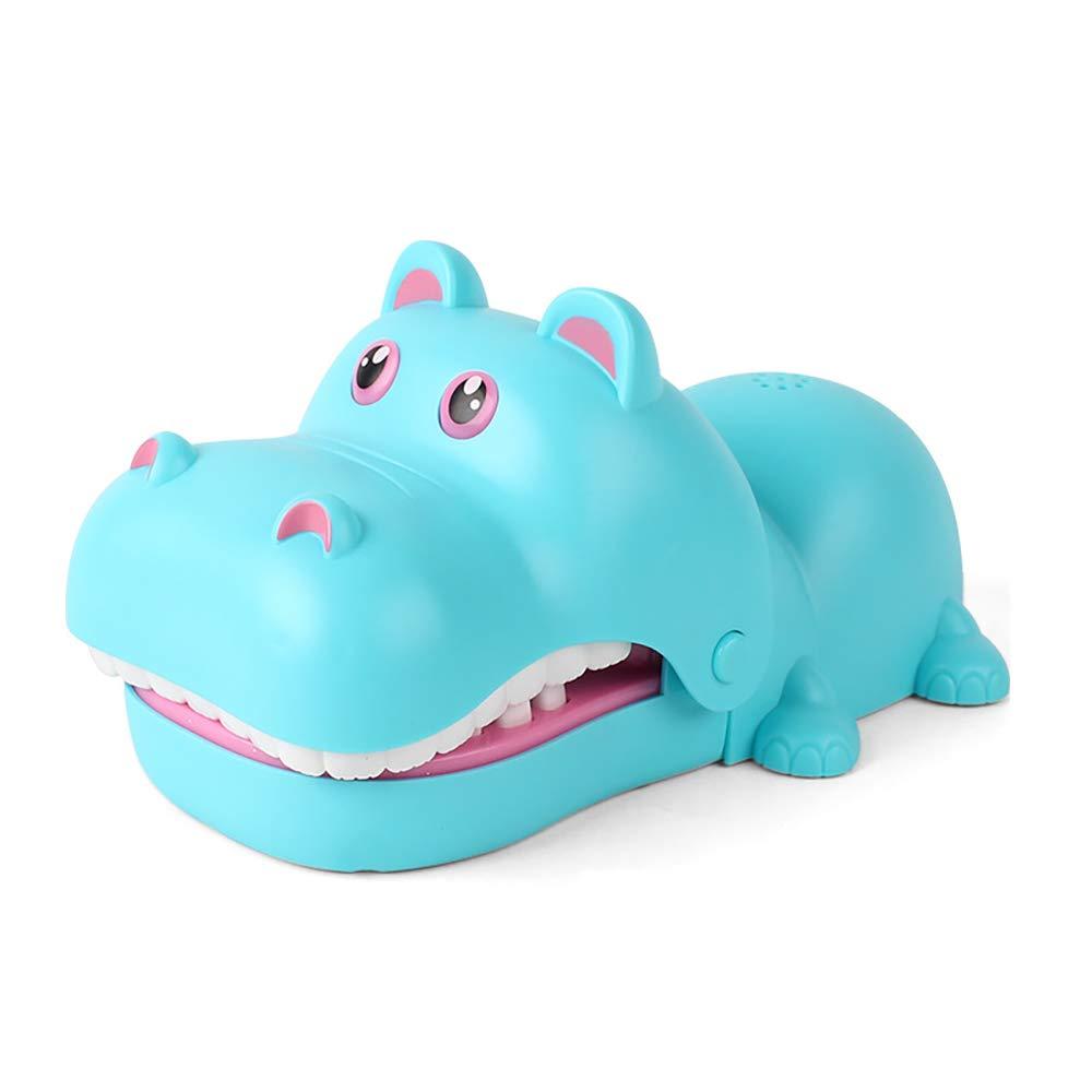 Wudi Cartoon Hippo Toy Bite Dita della Mano Divertente Dentista Gioco Ippona Forma della novità Giocattolo per Bambini Adulti Bambini Famiglia Che Gioca Regali Divertenti di Natale Blu