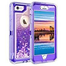 """iPhone 6S Plus Case, iPhone 6 Plus Case, Coolden Glitter Cute Phone Case Girls Bling Sparkle Dual Layer Shockproof Liquid Case with Hard PC Bumper + Soft TPU Back for 5.5"""" iPhone 6/6S7/8 Plus– Purple"""