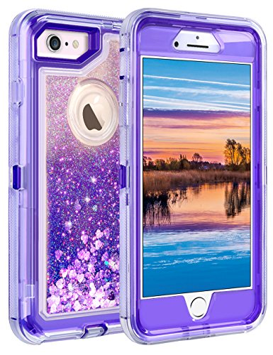 """iPhone 6S Case, iPhone 6 Case, Coolden Glitter Cute Phone Case Girls Bling Sparkle Dual Layer Shockproof Liquid Case with Hard PC Bumper + Soft TPU Back for 4.7"""" Apple iPhone 6/6S/7/8 – Purple"""
