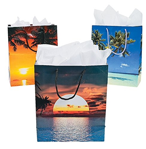 sand-and-sun-gift-bags-luau-party-12-pack-paper-9-featuring-fun-beach-images