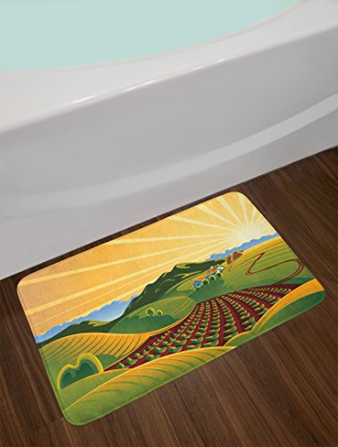 Lunarable Country Bath Mat, Crop Field Garden Grass Meadow Mountain Path Farm Sunrise Elements for Agriculture, Plush Bathroom Decor Mat with Non Slip Backing, 29.5 W X 17.5 W Inches, Multicolor by Lunarable (Image #1)