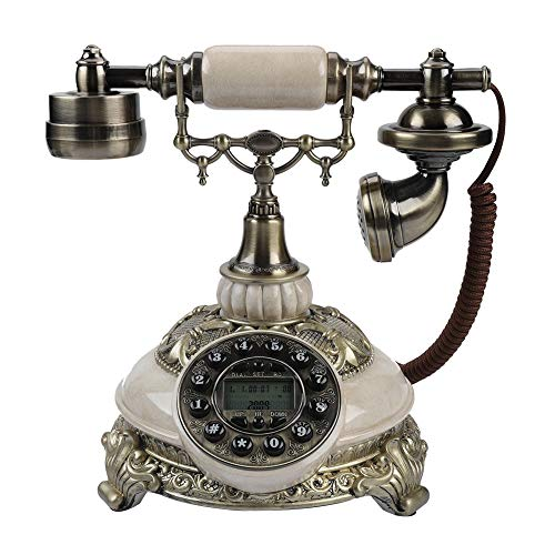 Vbestlife Retro Vintage Antique Style Phone, Old Fashioned Telephone Desk FSK/DTMF Rotary Dial Landline Phone with 38-Group Call Records for Office Home Living Room Decor, Wonderful Gift from Vbestlife