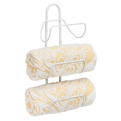 mDesign Estante toallero para montar en la pared – Estantería de baño en metal con 3