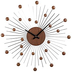 Stilnovo Mid Century Star Wall Clock, Wood/Silver