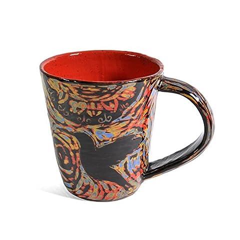 John Hutson Pottery Hummingbird Mug, Red/Multi