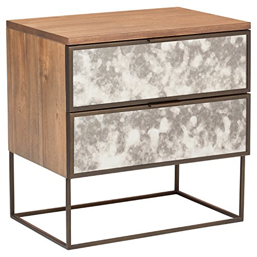 Rivet Modern Wood and Antique Mirror Panel Bedside Nightstand, Brass Finish, 24